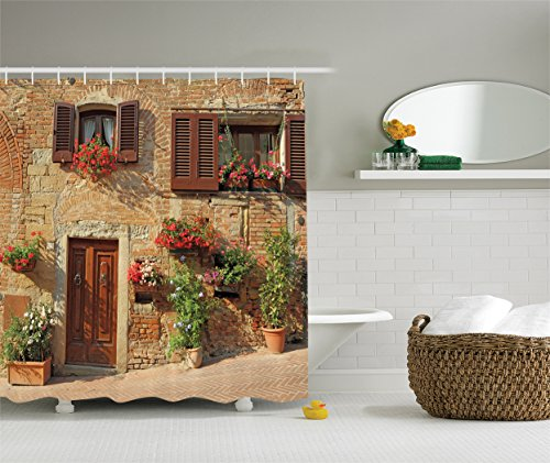 Ambesonne Tuscan Decor Collection, Mediterranean Architecture Houses and Flowers in Italian Hill Town Print, Polyester Fabric Bathroom Shower Curtain Set with Hooks, Brown Ivory