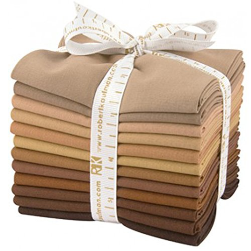 Robert Kaufman FQ-907-12 Fat Quarter Bundle Kona Cotton, Sediment palette - 12 Piece (Brown Quilting Fabric)