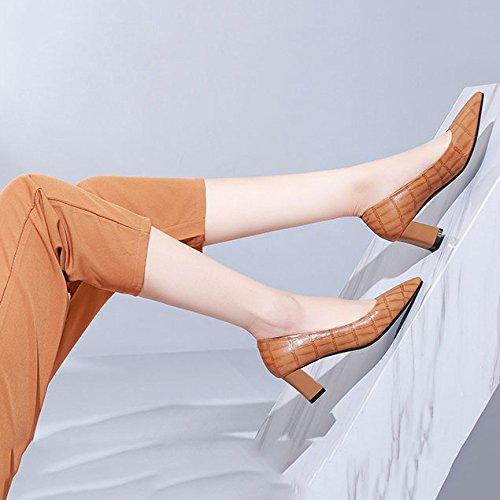 de pour Brown DKFJKI Chaussures de Femmes La Basses Profondes Orteil Peu Sauvage des Pointu avec Robe Mode Chaussures des Mme Bouche rRrOY