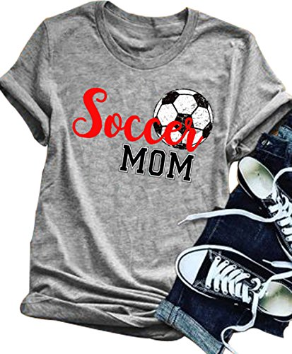 YUYUEYUE Women Soccer Mom Letter Printed T Shirt