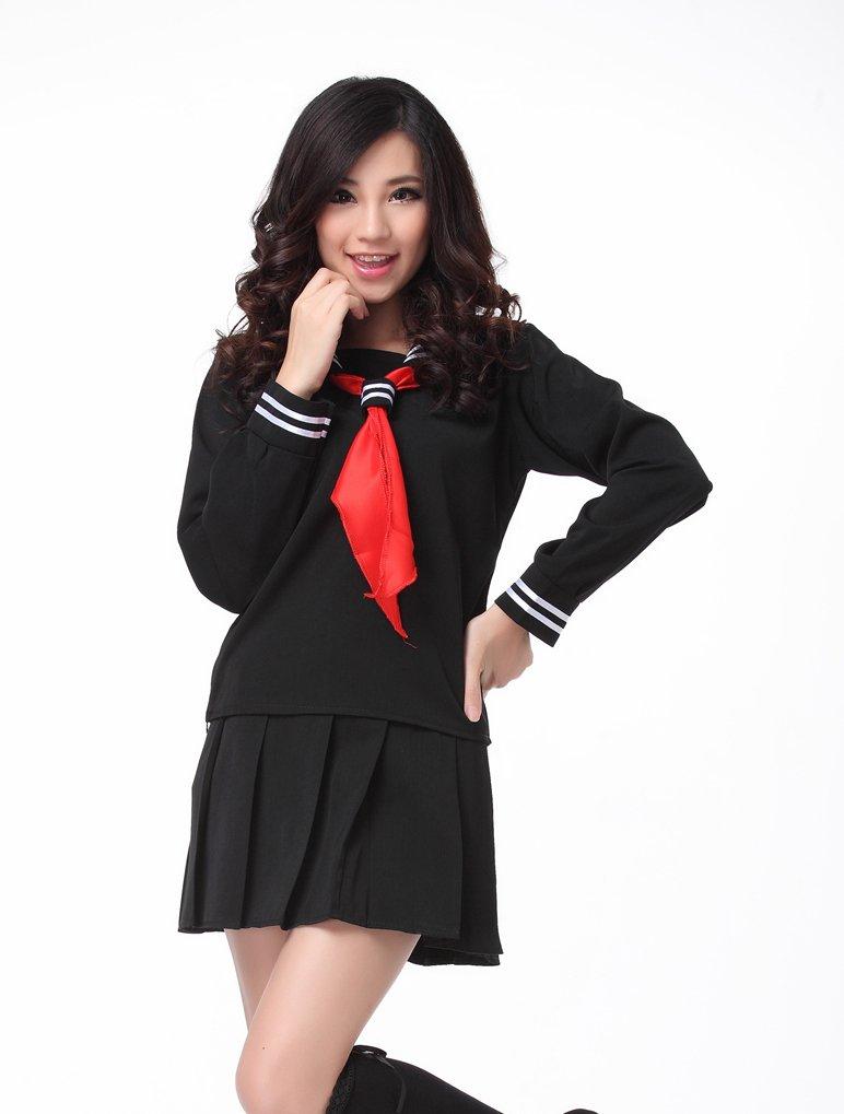 ROLECOS Womens Sailor School Uniform Dress Black L GC13A by ROLECOS (Image #6)
