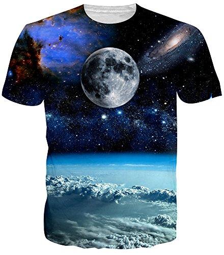 Full Moon Juniors T-shirt - Idgreatim Men Casual 3D Print Moon Short Sleeve T-Shirt Graphic Tees