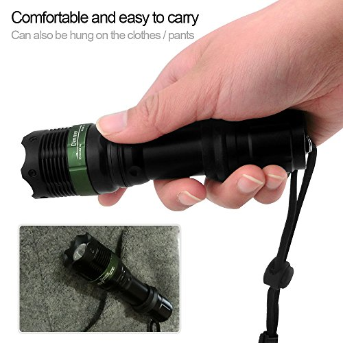 Kizad-Super-Bright-Flashlight-Zoomable-XML-T6-Light-TorchOutdoor-Tactical-Flashlight-Waterproof-Great-for-HuntingCyclingClimbingCamping-and-Out-door-ActivitiesBlack