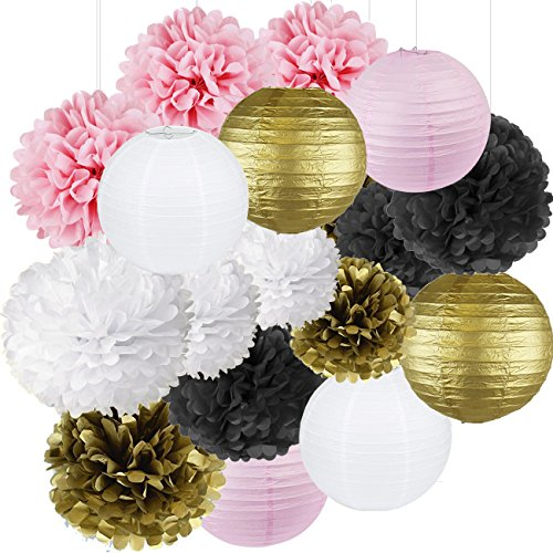 French/Parisian Birthday Party Ideas Pink Gold White Black Paris Party Decorations Tissue Paper Pom Pom Paper Lantern for Girls' Birthday Decorations Ooh La La Baby Shower Decorations -