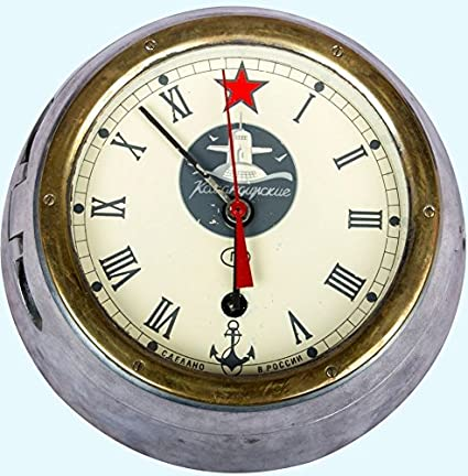 Creative Russian Soviet Navy Brass Ship Wall Clock Xii Hours Dial Antiques