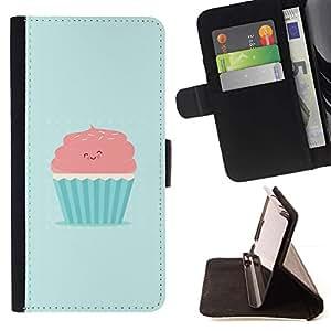 Momo Phone Case / Flip Funda de Cuero Case Cover - ROSA LINDO Y MAGDALENA AZUL - Sony Xperia M5