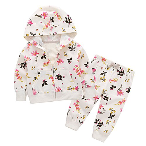 Baby Girls Floral Print Hooded Zipper Sweatshirt Pants 2PCS Set (24M, White)