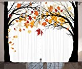 Cheap Curtains for Bedroom Decor Living Room Decorations Art Nature Fall Trees Falling Leaves Pictures Contemporary Artwork Modern Accent Curtains Two Panels Set 108 x 84 Inches, Beige Yellow Coral Brown