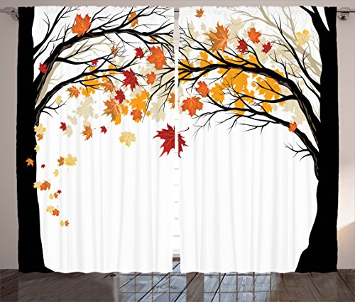 Falling Leaves Picture (Curtains for Bedroom Decor Living Room Decorations Art Nature Fall Trees Falling Leaves Pictures Contemporary Artwork Modern Accent Curtains Two Panels Set 108 x 84 Inches, Beige Yellow Coral Brown)