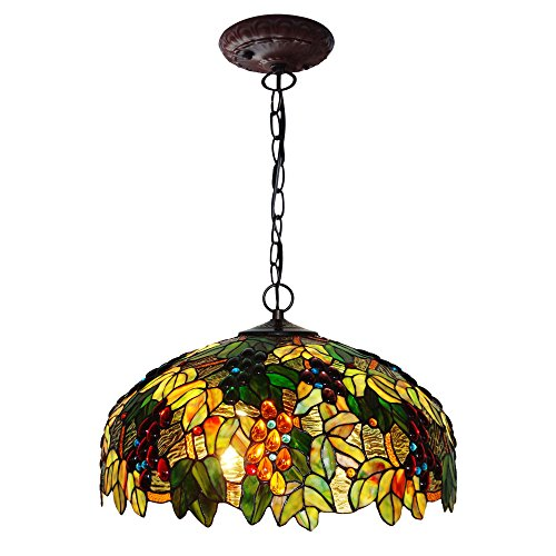 Bieye L10300 20-inches Grapes Tiffany Style Stained Glass Ceiling Pendant Fixture (Green)