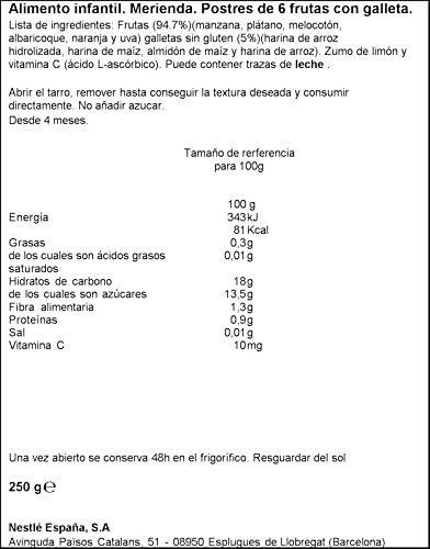 Nestlé Purés Merienda - Tarrito de puré de fruta y galleta sin gluten - variedad Postre 6 frutas con galleta - Para bebés a partir de 4 meses - ...