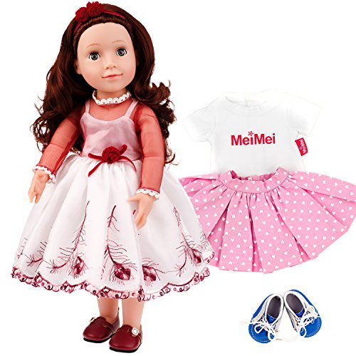 MeiMei 18 inch Doll Girl Party Toy with Clothes Set Outfit Eyes Can Open & Close Toddler Dolls for Kids 3+ Adorable in Gift Box by MeiMei