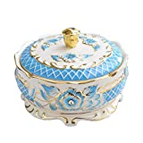 DABENXIONG Blue Gilded Ceramic Ashtray with Lid Snack Bowl Desk Organizer Table Decoration Retro Style Home Decor