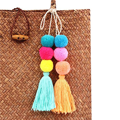QTMY Colorful Tassel Bag Charm for Women,Layered Tassel Keychain Keyring Purse Handbag Decor Pendant (2) ()