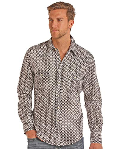 Aztec Print Shirt - Rock & Roll Cowboy Men's and Stone Washed Aztec Print Long Sleeve Snap Shirt Brown Medium
