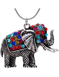 Necklace Plated Silver Elephant Pandent Necklace:27.5In Pendant:2In