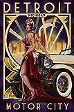 Detroit, Michigan - Deco Woman and Car (9x12 Art Print, Wall Decor Travel Poster)