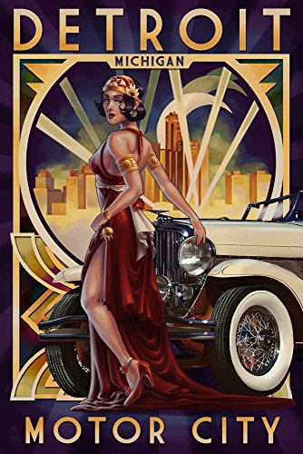 Detroit Woman and Car Poster