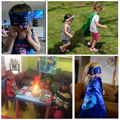 Pajama Hero Mask Costumes and Dress Up for Kids - Cartoon Hero Birthday Party Halloween Gift Mask and Cloak 3PCS