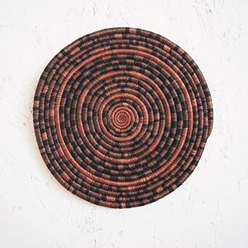 African Woven Trivet- Karaba/Rwanda Trivet/Sisal & Sweetgrass/Brown, Black, Clay