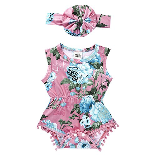 Price comparison product image Sharemen Newborn Baby Girls Print Romper Headband Summer Bodysuit (Pink, 12-18 Months)