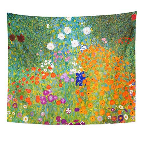 Semtomn Tapestry Artwork Wall Hanging Painting Flower Garden by Gustav Klimt Vintage Bauerngarten Cottage 60x80 Inches Tapestries Mattress Tablecloth Curtain Home Decor Print (Gustav Klimt Garden)