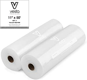 Vesta Vacuum Sealer Bags Rolls | 11x50 2 pack | ideal for Food Saver, Seal a Meal | BPA Free, Heavy Duty | Great for food vac storage or sous vide