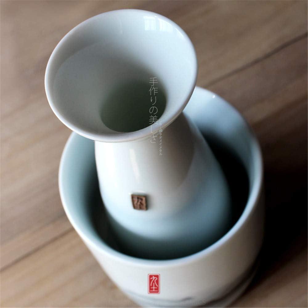JIASHU Glass Sake Warmer Set Cold Sake Set Sake Glass Set with 1PCS Sake Bottle 1PCS Glass Pot 4PCS Sake Shot Cups for Warmer or Cold Alcohol Liquor