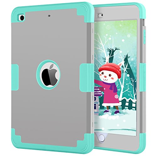 iPad Mini Case for iPad Mini 3 / 2 /1, BENTOBEN Three Layer Slim Fit Anti-slip Heavy Duty Shockproof Hybrid Soft Silicone Hard PC Armor Protective Case Cover for iPad Mini 1 2 3 Retina Gray/Mint Green
