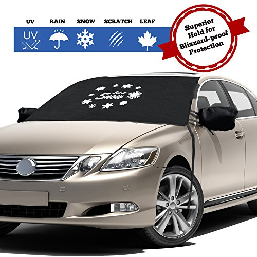 Windshield Cover for Ice and Snow - Fits Most Cars, Trucks, Minivans, SUVs and F150s - Weatherproof and Windproof with Ear Flaps, Adjustable Suction Cups, Strings and Mirror Covers (48X60)