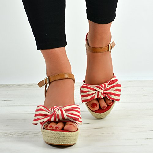 Rot Heels Wedges High Größe New Cucu Bow Knöchelriemen Schuhe Plattform Womens Fashion Espadrille xCw6Cfq7O