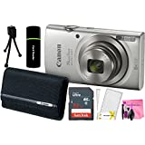 Canon PowerShot ELPH 180 20MP 8x Zoom Digital Camera (Silver) + 32GB Card + Reader + PSC-2070 CASE + Camera Works Accessory Bundle