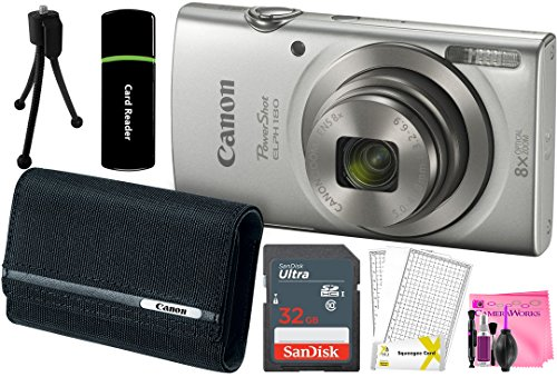 Canon PowerShot ELPH 180 20MP 8x Zoom Digital Camera (Silver) + 32GB Card + Reader + PSC-2070 CASE + Camera Works Accessory Bundle