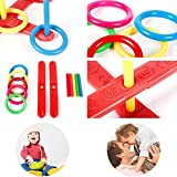 MIJORA-new Hoop Ring Plastic Toss Quoits Garden Game Pool Kids Toy Outdoor Fun Set