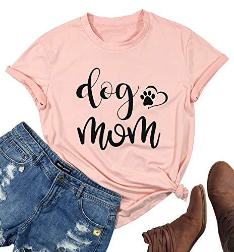 7ebcdd5eb SUPEYA Womens Dog Mom Round Neck T-Shirt Funny Moms Gift Short Sleeve  Family Tee