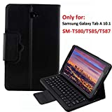Keyboard Case for Samsung Galaxy Tab A 10.1 (SM-T580 / T585), YMH Detachable Magnetic Removable Wireless Bluetooth Smart Keyboard Cover Protective Stand Book Folio Slim Fit PU Leather (01)