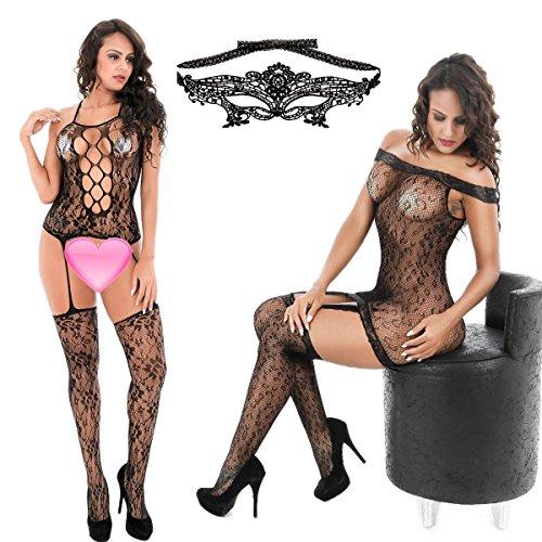 Fishnet Suspender Bodystocking (3 Pack Womens Striped Lingerie Crotchless Bodysuits Suspender fishnet Plus Size Bodystocking Sexy Venetian Masquerade black)
