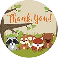 2 Inch Thank You Stickers Boy Baby Shower Favors Woodland Animals 60 Labels