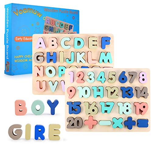 Voamuw Wooden Alphabet & Numbers Puzzles - 2-Pack Upper Case Letter and Number Learning Board Kid Toys Set - Ideal for Early Educational Learning for Kindergarten Toddlers & Preschools