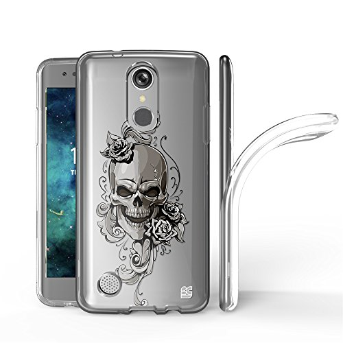 Trishield Gear LG Aristo, Phoenix 3, Rebel 2 LTE, Risio 2, LG Fortune, LG K8 2017, LV3 Case, Ultra Slim Hybrid Transparent Clear Flexible Soft TPU Gel Skin Phone Cover For LG MS210 - Laughing Skull from Beyond Cell