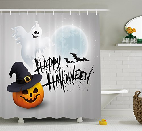 Halloween Shower Curtain by Ambesonne, Happy Celebration Typography Stained Look Cute Ghost Pumpkin Hat Print, Fabric Bathroom Decor Set with Hooks, 84 Inches Extra Long, White Black Orange