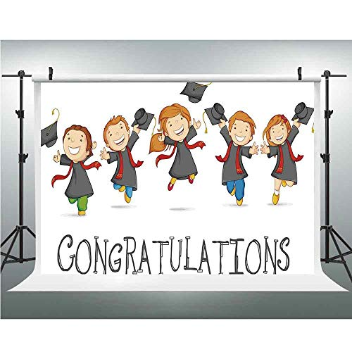 (Graduation Decor,Photography Backdrop for Wedding and Party,5x7ft,Happy Children Jumping Genius Clever Smart Kids Preschool Kindergarten)