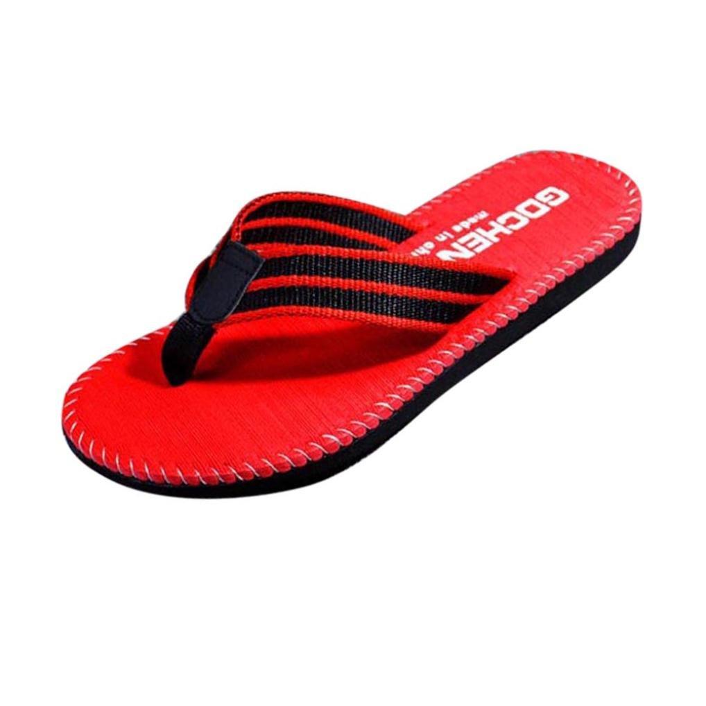 Styledress Damen Zehentrenner Sandalen, Frauen Sommer Streifen Sandalen Damen Zehentrenner Keil-Plattform-Zapfen Schuhe Pantoffel Flip Flops Schuhe  EU=42 Rot
