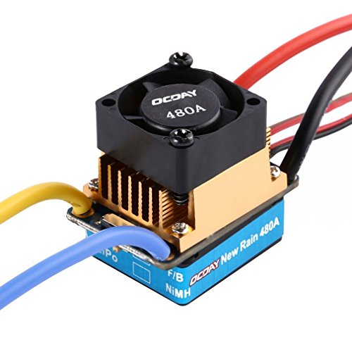 Favrison OCDAY 2-3 Lipo/6-9 NiMH 480A Dual Mode Brush Speed Controller ESC Regulator With Cooling Fan For 1/10 RC Car by Favrison (Image #3)