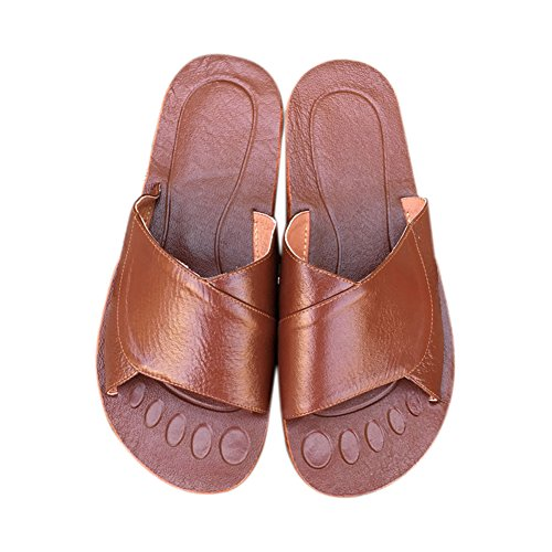Men Cowhide Brun Slippers Corium Wooden Leather Spring Women Autumn TELLW Summer Floor for Smelly Anti G I7CwUWq