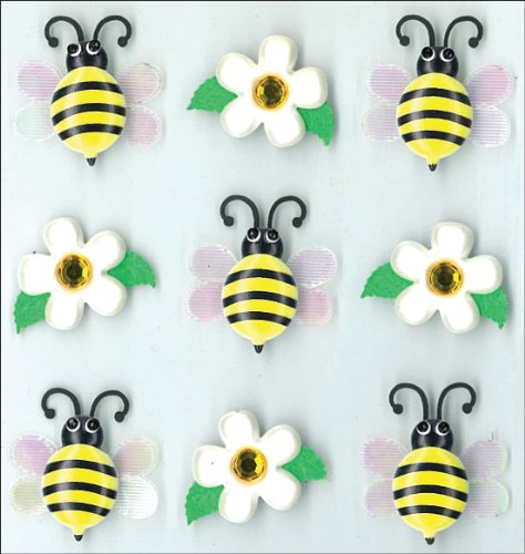 Jolee's Boutique Cabochons Dimensional Stickers, Bumble Bees