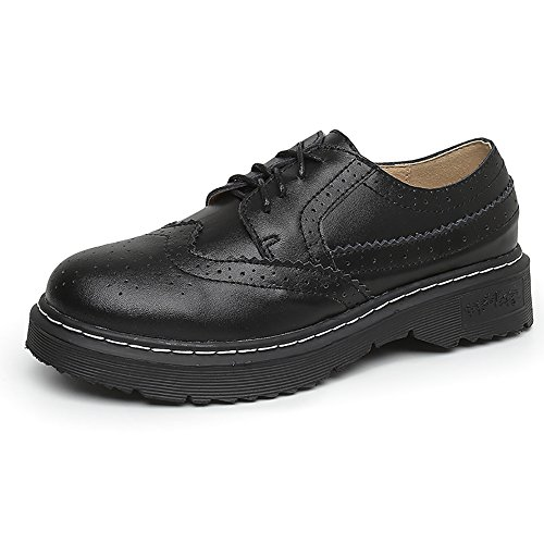 Meeshine Womens Perforated Brogue Oxfords Low Flat Heel Lace Up Wingtip Vintage Dress Shoes Black 9 US (Patent Brogue)