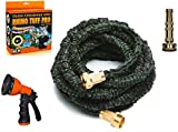 Expandable Hose 50 Foot Rhino Tuff Pro With Brass Fittings and Brass Nozzle Combo Double Strength