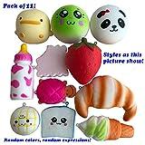 Pack of 11PCS Kawaii Soft Squishy Foods Panda Bread Bun Milk Bottle Yellow Duckling Phone Straps Charms Kids Toys
