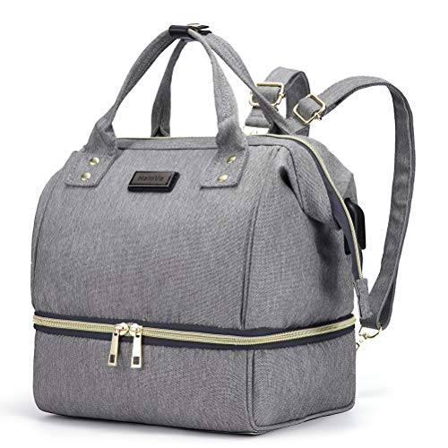 Small Bag Diaper - HaloVa Diaper Bag, Baby Nappy Bag, Mommy Maternity Mini Shoulders Backpack, Tote Bag with Thermal Insulated Bottle Pocket and USB Charging Port, Grey
